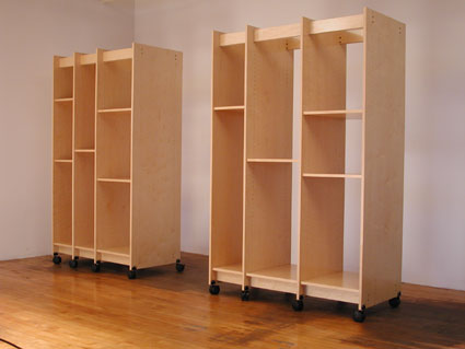 Art Storage Cabinets for storing art and art materials roll on locking wheels.