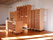 Art Storage Systems against storing art and Art Storage Desk for making artwork.