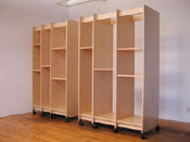 "Painting Storage Cabinets can be any length. These two art storage cabinets measure 51"" wide each."