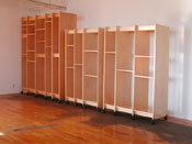 Art Storage System is modular it has sections for storing art that can be connected to make any size art storage rack.