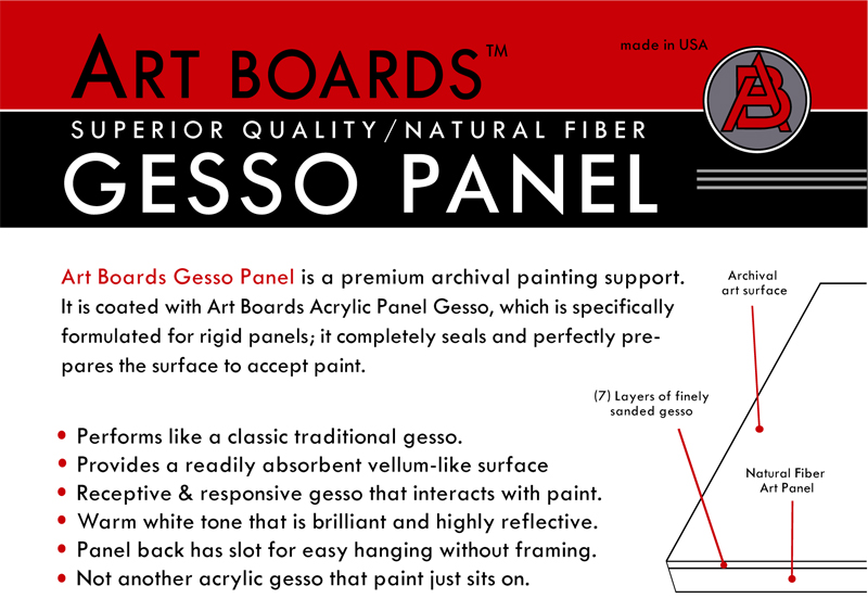 Gesso Artist Panels for making art, for painting and drawing. Gesso Panels hang without framing.