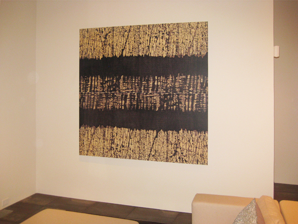 "Art mounted on aluminum is 72"" x 72"".  Print hangs without framing or glass."