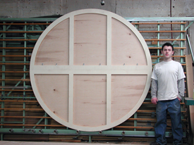 "Custom Size Round Art Panel made in two section that bolt together is 84"" in diameter."